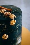 Czarny świąteczny tort w przestrzeń stylu, Obraz Royalty Free