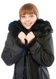czarny żakieta dziewczyny szalika uśmiechnięta zima zdjęcie stock