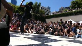 Czarny żeński dancingowy uliczny festiwal Vancouver Kanada Lipiec 2016 zbiory