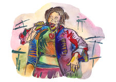 Czarny żeński kobieta śpiew ilustracja wektor
