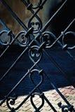 Czarny żelazo fałszująca brama zdjęcia royalty free