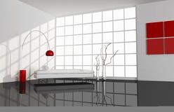 czarny żywy minimalny czerwony izbowy biel ilustracja wektor