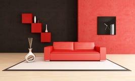 czarny żywy nowożytny czerwony pokój Zdjęcia Royalty Free