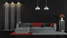 czarny żywy pokój ilustracji