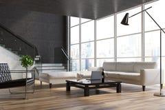 Czarny żywy pokój, schodki, kanapy royalty ilustracja