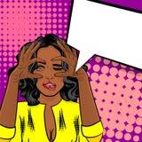 Czarny Afrykanin dziewczyny wystrzału sztuki amerykański dopatrywanie ilustracja wektor