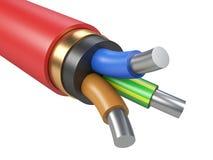 Czarny aluminiowy elektryczny kabel - odgórny widok Fotografia Stock