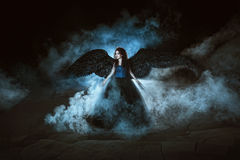 czarny aniołów skrzydła Zdjęcia Stock