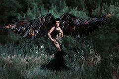 Czarny anioł Ładny demon Fotografia Royalty Free