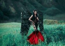 Czarny anioł Ładny demon Fotografia Stock