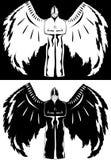 czarny anioła biel Fotografia Royalty Free