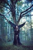 Czarny anioł w lesie Zdjęcia Royalty Free