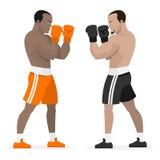 Czarny atleta bokserów stojak w stojaku Fotografia Stock