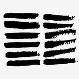 Czarny atrament ustawiający szczotkarscy uderzenia farba ilustracji