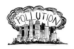 Czarny atramentu Grunge ręki rysunek Zakrywający smogiem i zanieczyszczenie powietrza miasto ilustracja wektor