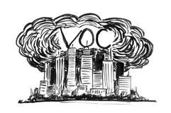 Czarny atramentu Grunge ręki rysunek Zakrywający smogiem, VOC i Lotny Organicznie mieszanki zanieczyszczenie powietrza miasto royalty ilustracja
