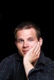 czarny błękit przyglądający się mężczyzna Zdjęcia Stock