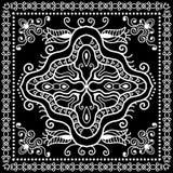 Czarny bandana druk, jedwabniczy szyja szalik lub chustka, Obraz Stock