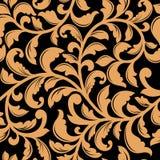 Czarny bezszwowy wzór z żółtymi kwiecistymi elementami Obraz Royalty Free