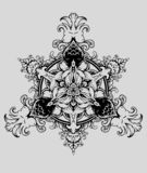 CZARNY BIA?Y ornamentu mandala ilustracji