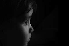 Czarny biały portret dziecko Obraz Stock