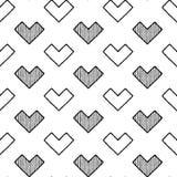 Czarny Biały serce wzór Fotografia Stock