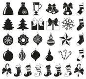 Czarny bielu 32 bożych narodzeń elementów sylwetki set ilustracja wektor