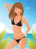 czarny bikini dziewczyna ilustracji