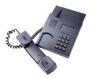 Czarny biuro telefon odizolowywający Zdjęcia Stock