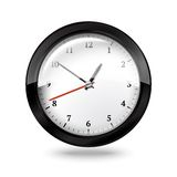 Czarny biuro zegar odizolowywający na białym tle Obrazy Stock