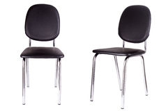 Czarny biurowy krzesło Odizolowywający na bielu Obrazy Stock