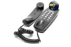 Czarny biurowy telefon Fotografia Stock