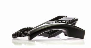 Czarny Biurowy telefon z odbiorcą haczyk Zdjęcia Stock