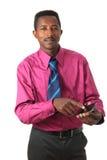 czarny biznesmen odizolowywał telefonu krawat Obrazy Stock
