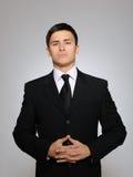 czarny biznesowego mężczyzna poważni kostiumu krawata potomstwa Zdjęcie Royalty Free