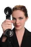 czarny bizneswomanu telefonu rocznika potomstwa Obraz Royalty Free
