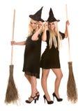 czarny blondynów miotły sukni Halloween czarownica Obrazy Stock