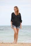 czarny blondynki koszula kobiety Zdjęcie Royalty Free