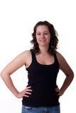 czarny brunetka wręcza bioder podkoszulek bez rękawów potomstwa zdjęcia stock