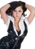czarny brylanta sukni dziewczyna Zdjęcia Royalty Free