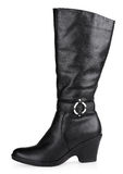 czarny buta modna żeńska skóra Zdjęcie Stock