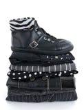 czarny buta odzieżowy rzemienny elegancki Obrazy Royalty Free