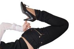 czarny buty leather seksowną szpilkę Fotografia Stock