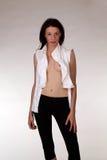 czarny caucasian otwartych spodń koszulowi białej kobiety potomstwa zdjęcie stock