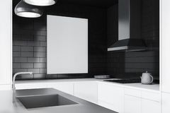 Czarny ceglany kuchenny wnętrze, plakat ilustracji