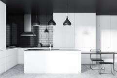 Czarny ceglany kuchenny wnętrze, wyspa royalty ilustracja