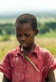 Czarny chłopiec patrzeć Fotografia Stock