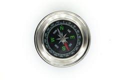 Czarny chromu kompas odizolowywający na białym tle obrazy stock
