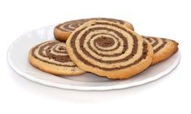czarny ciastek talerza biel Obrazy Royalty Free