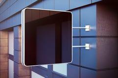 Czarny cristal cyfrowy ekran na bulding mieście Betonowe fasady nowożytni budynki w tle horyzontalny Mockup obrazy stock